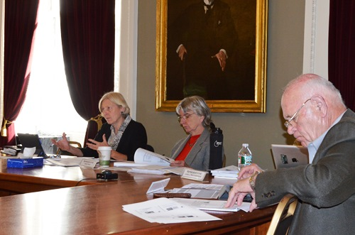 Lawmakers on the SFI summer study committee meet Tuesday. From left, Sen. Jane Kitchell, D-Caledonia; Rep. Sandy Haas, P-Rochester; and Sen. Dick Sears, D-Bennington. Photo by Alicia Freese/VTDigger