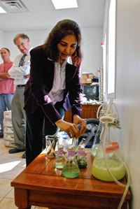 Dr. Anju Dahiya, president and co-founder of General Systems Research, discussed how beer brewery and dairy farm waste could be used to create algae-base biofuel during a news conference at the Nordic Dairy Farm in Charlotte on Tuesday. Photo by John Herrick/VTDigger