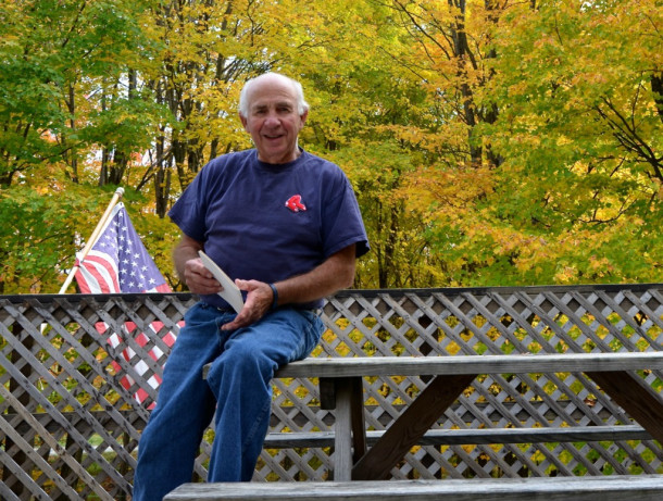 "Sitting on his home's deck high above Route 17 in the Mad River Valley, Robert Vasseur jokingly says he ran for Fayston Selectboard at age 26 because ""somebody had to do it, I guess."" He's now been on the board for 54 consecutive years. Photo by Andrew Nemethy"