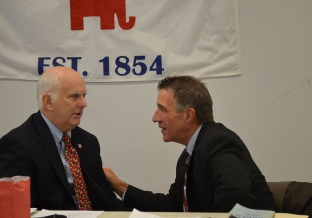 Phil Scott and Jack Lindley confer before the start of the Vermont GOP state committee convention. Photo by Alicia Freese