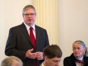 Senate President Pro Tem John Campbell of Windsor County addresses the members on opening day. Photo by Roger Crowley/for VTDigger