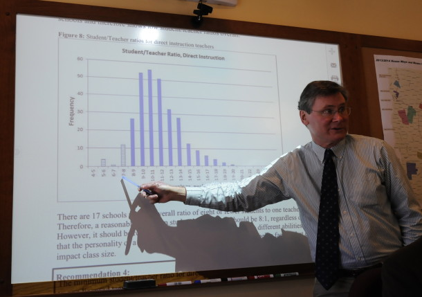 Vemront education finance manager Brad James explains a new student-staff ratio report to lawmakers. Photo by Hilary Niles/VTDigger