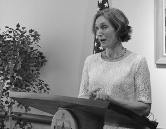 Education Secretary Rebecca Holcombe at a press conference in September 2013. Photo by Viola Gad/VTDigger