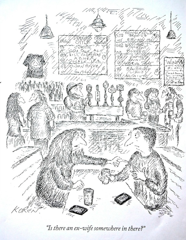 """Ed Koren sketches in scenes from his Vermont life in homage to his adopted state. This cartoon, which appeared in the New Yorker, draws from the interior of Montpelier's Three Penny Taproom and features beers such as """"Onion River Saison."""" Courtesy of Ed Koren/The New Yorker Magazine"""