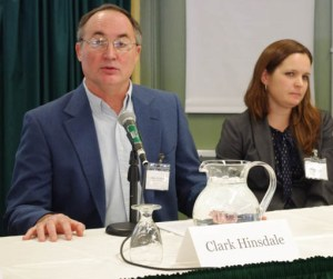 Clark Hinsdale, president of the Vermont Farm Bureau, speaks at immigration reform panel Tuesday at Vermont Law School. Photo by Laura Krantz/VTDigger