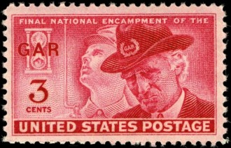 The U.S. Postal Commission authorized this commemorative stamp in 1948 to mark the final national encampment of the Grand Army of the Republic. Too few Civil War veterans were still living to attend these annual reunions, which had at one time attracted tens of thousands of veterans and their families, and of those still living, most were too elderly or frail to make the trips. Gilbert Lucier attended his last -- and probably his first -- national encampment at Gettysburg in 1938, when he was 91. It was the 75th anniversary of that critical battle.