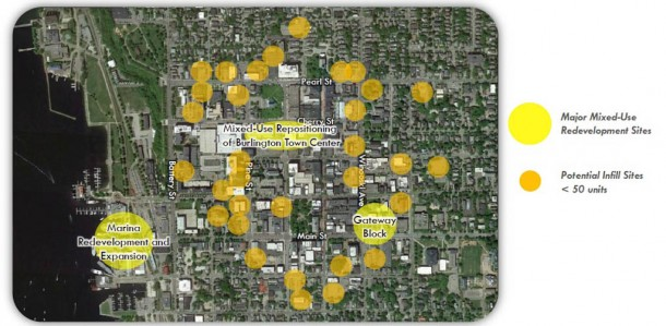 A new report identifies underutilized or vacant lots in downtown Burlington, plus private sites, for possible infill to build the city's housing stock in an effort to bring down prices. Courtesy of Downtown Housing Strategy Report by HR&A Advisors.