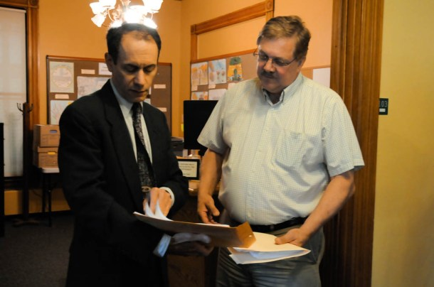 Dean Corren, a Progressive challenging incumbent Lt. Gov. Phil Scott, filed his paperwork for public financing Thursday morning with Secretary of State Jim Condos. Photo by Hilary Niles/VTDigger
