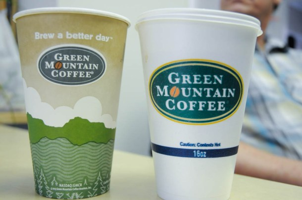 Keurig Green Mountain officials say they're trying to track down the source of styrofoam coffee cups (right) that have replaced the company's branded paper cups (left) in many convenience stores in Washington County. Photo by Hilary Niles/VTDigger