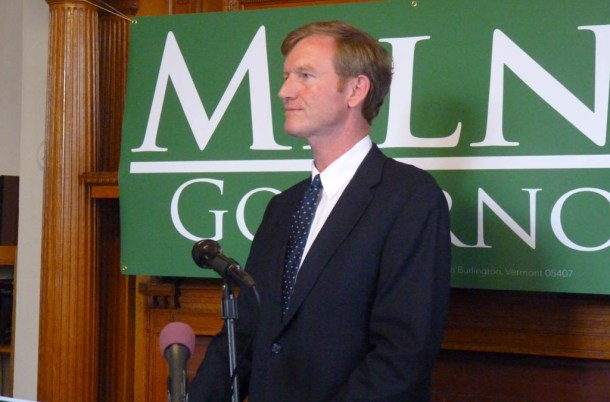 Republican travel agency executive Scott Milne formally launches his campaign for governor Wednesday, July 23, 2014, at the Aldrich Public Library in Barre. Photo by Anne Galloway/VTDigger