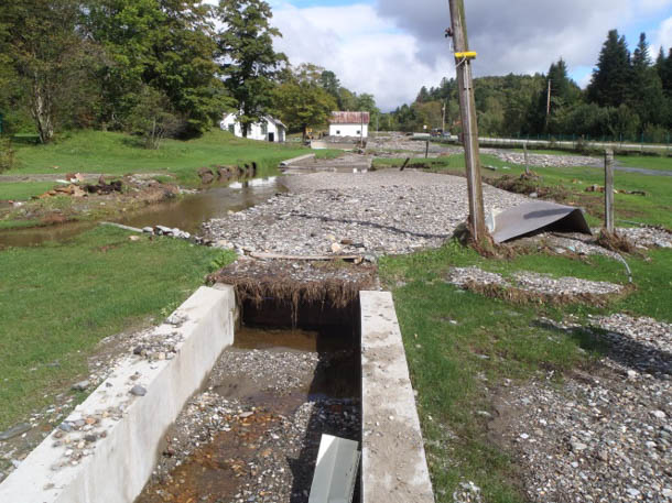 The Roxbury fish hatchery shortly after Tropical Storm Irene struck in August 2011. Photo courtesy of Vermont Fish and Wildlife