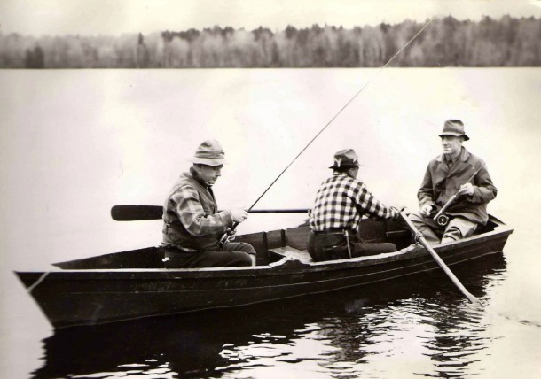 Vermont Gov. George Aiken, right, fishes with his friend Kansas Gov. Alf Landon, left, in this photo, circa the 1930s. Photo courtesy of Quimby Country archive
