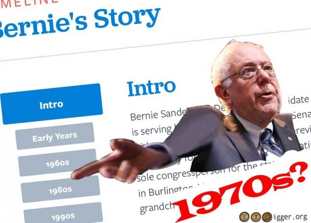 The timeline on Sanders' site is missing one decade that was pretty packed for the candidate. (Screenshot taken from BernieSanders.com, and Flickr/Brookings Institute. Illustration by VTDigger.org.)