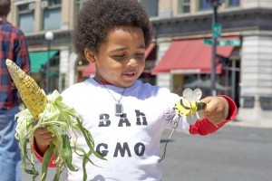 Eros Franquiz, a 3-year-old, and his mother Nahomi Franquiz, 23, of Massachusetts, protested the use of Monsanto's genetically engineered seeds and herbicide Roundup, outside the farmers market in Rutland. Photo by John Herrick/VTDigger