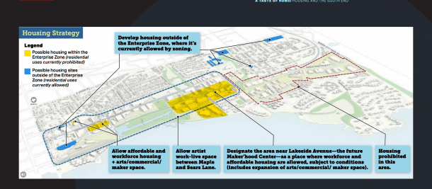 The yellow areas represent spaces where PlanBTV proposes to incentivize housing development. Courtesy of the City of Burlington.