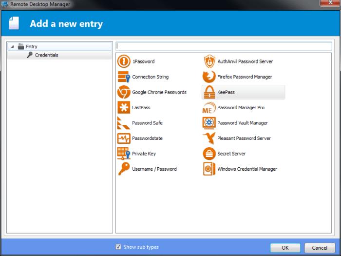 Remote Desktop Manager - Credential Entry