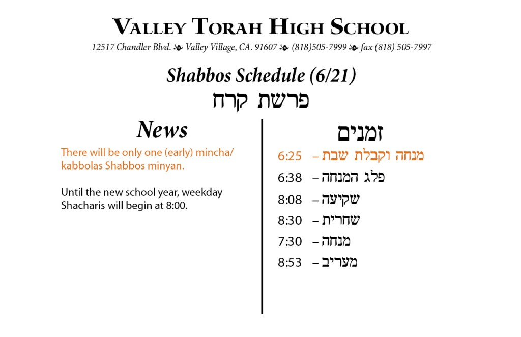 Shabbos Parashas Korach 5774