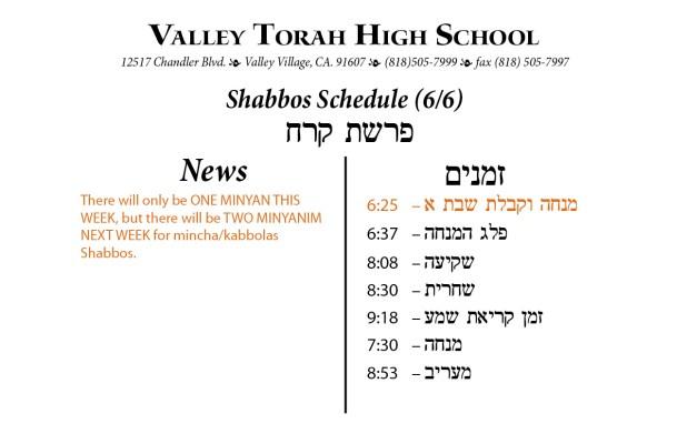 Shabbos Parashas Korach 5775