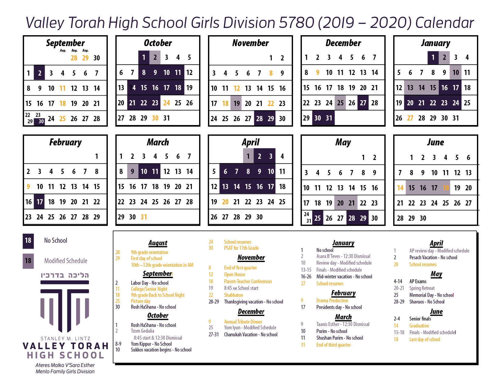 Calendar - Girls 19-20