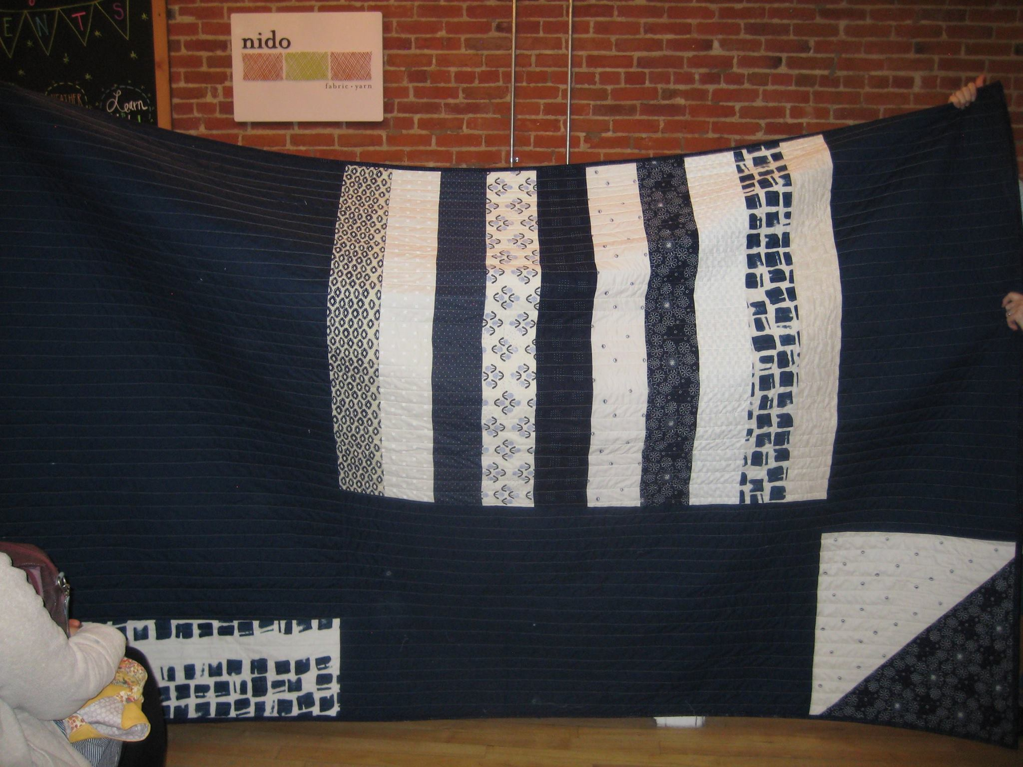 Back of Anya's blue and white quilt.