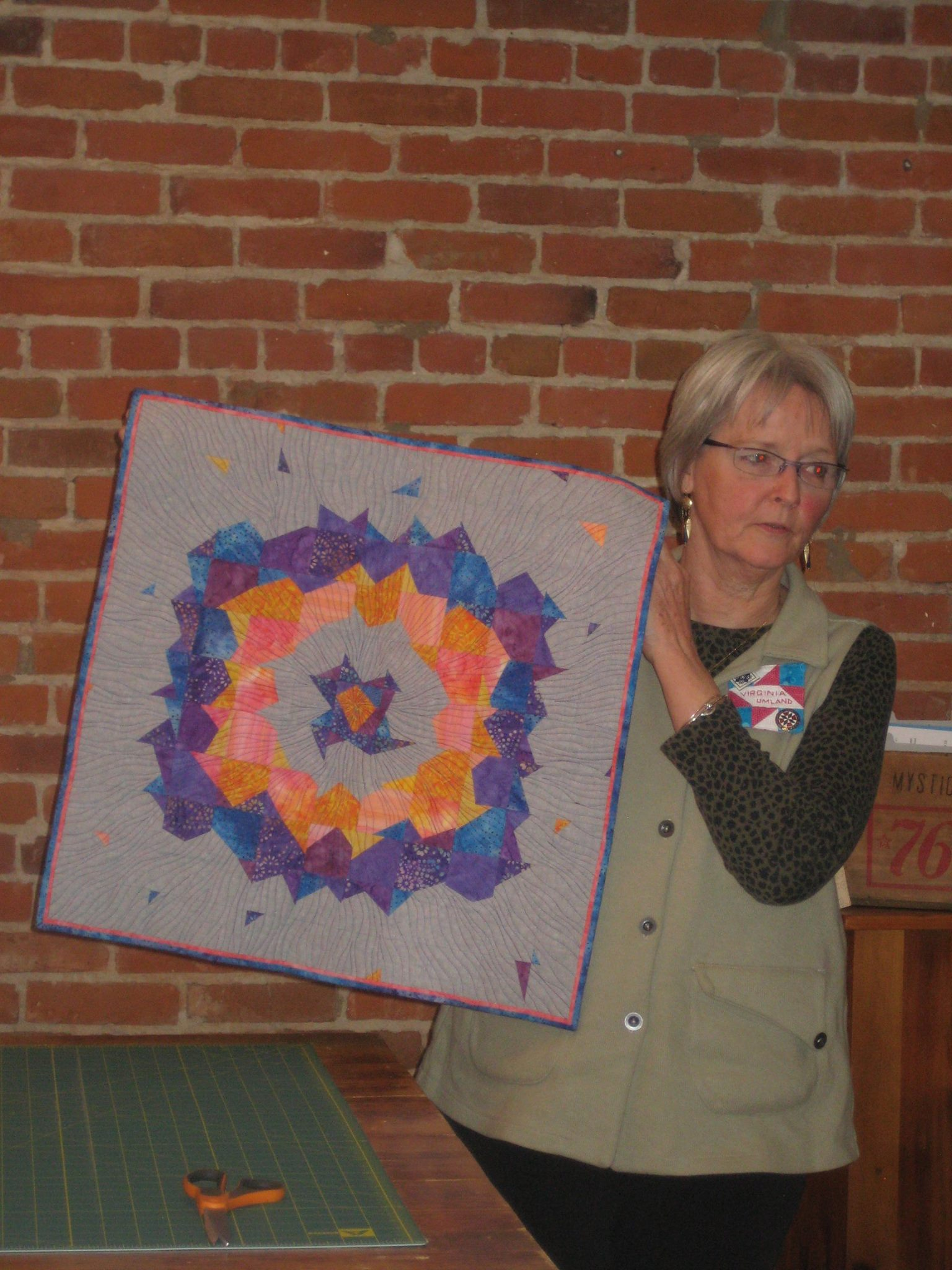 Virginia's Supernova quilt won a blue ribbon!