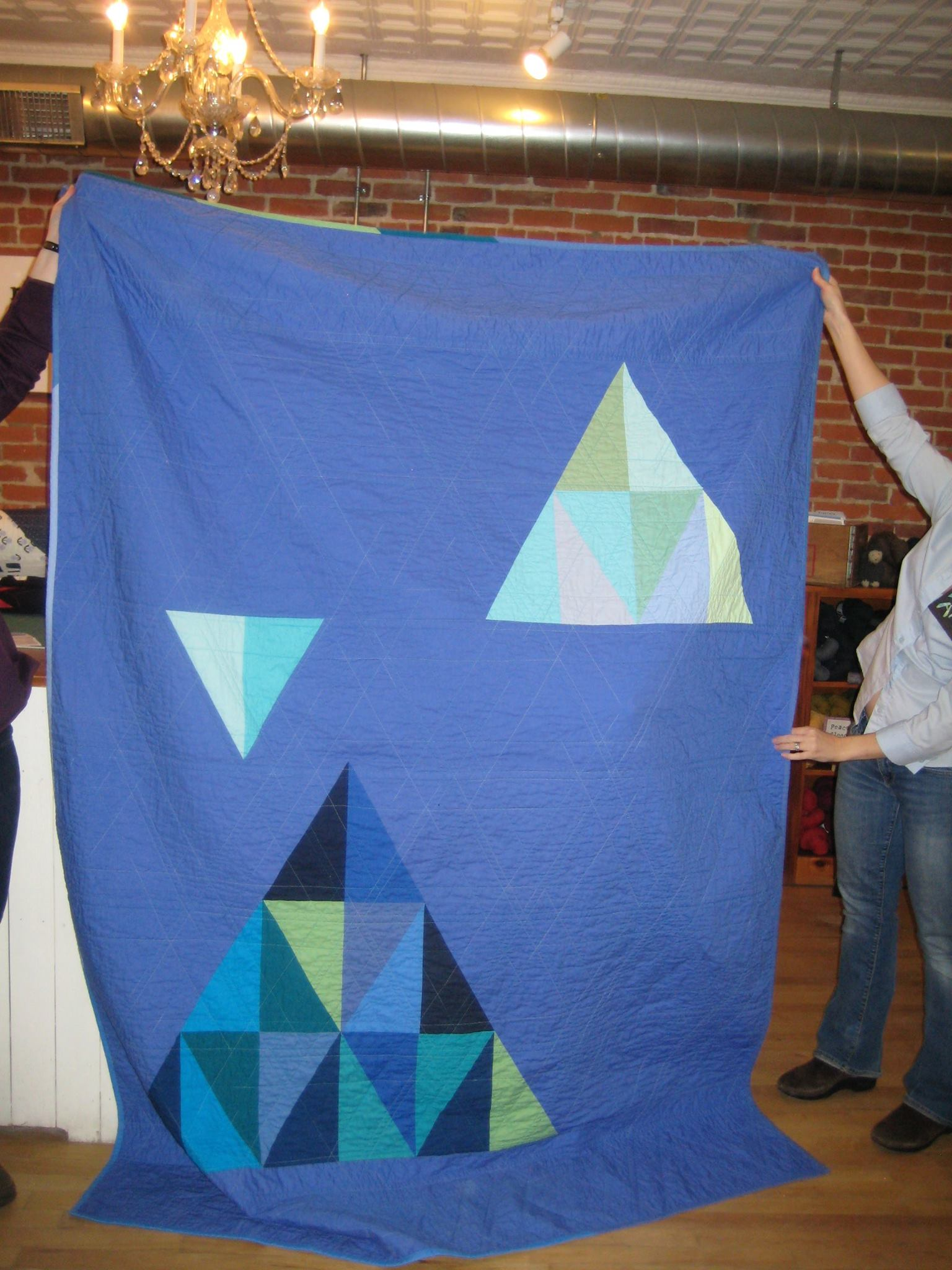 Back of Anya's blue triangles quilt.