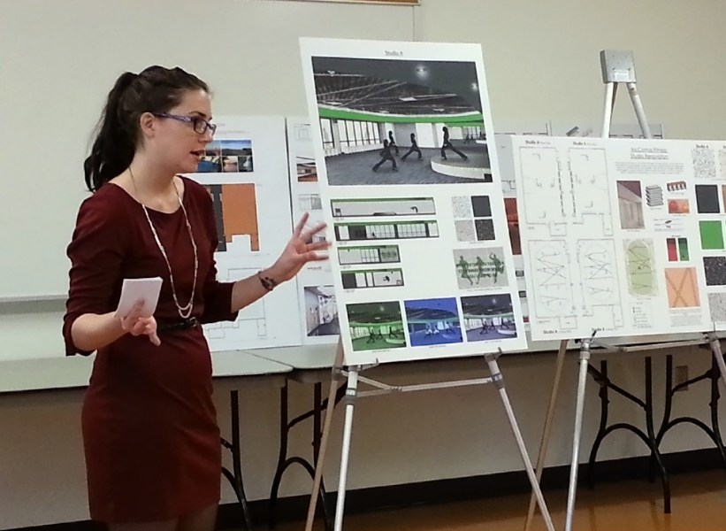 Interior design students work out new designs for Recreational     Interior design student Lyndsay Digman presents her design concepts for the  fitness studios in McComas Hall