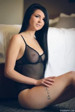 Kayla in mesh bodysuit