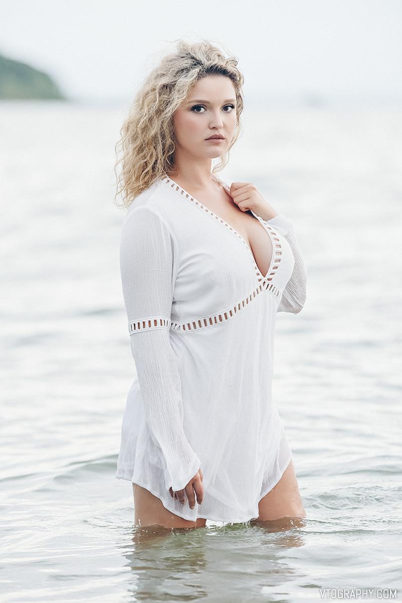 Scarlett in white dress
