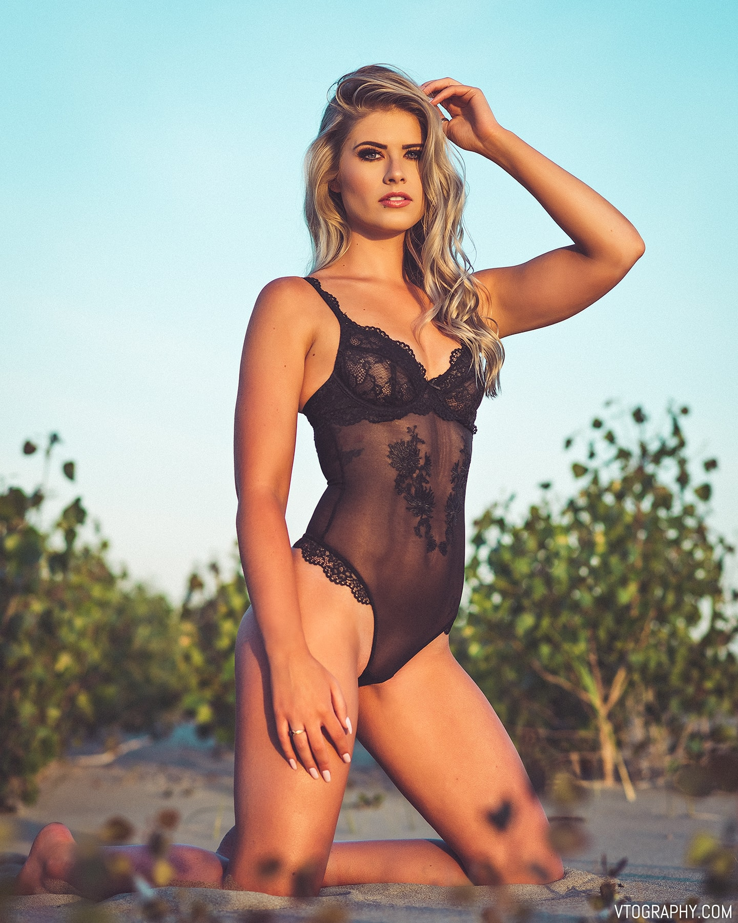 La Vie En Rose black lace mesh thong bodysuit