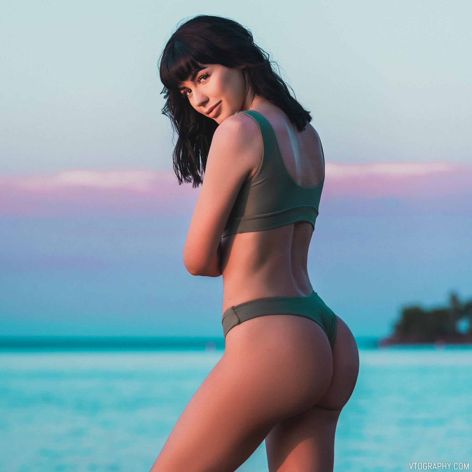 Olive green Zaful bikini photo shoot