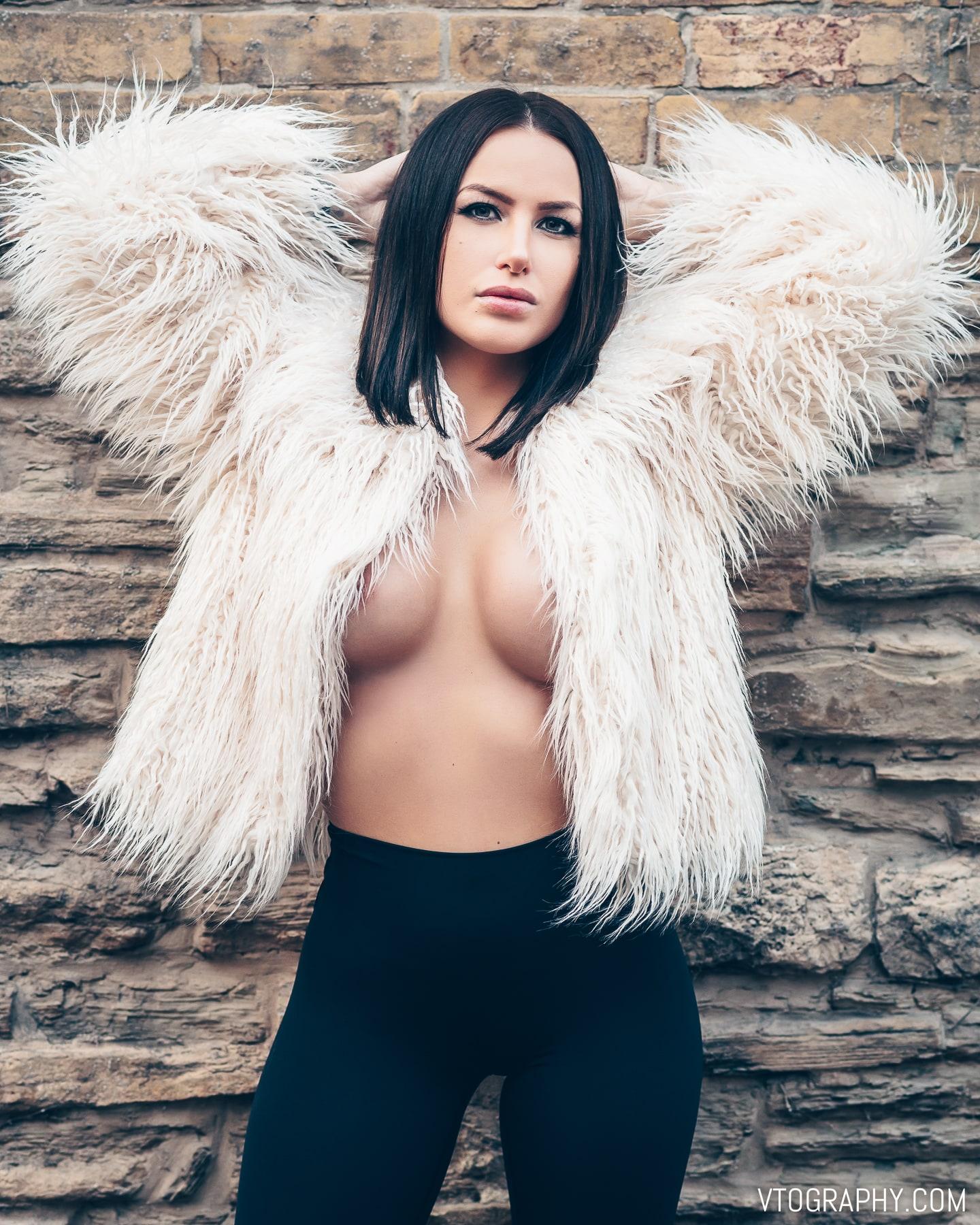Model Samantha Christine in fur coat