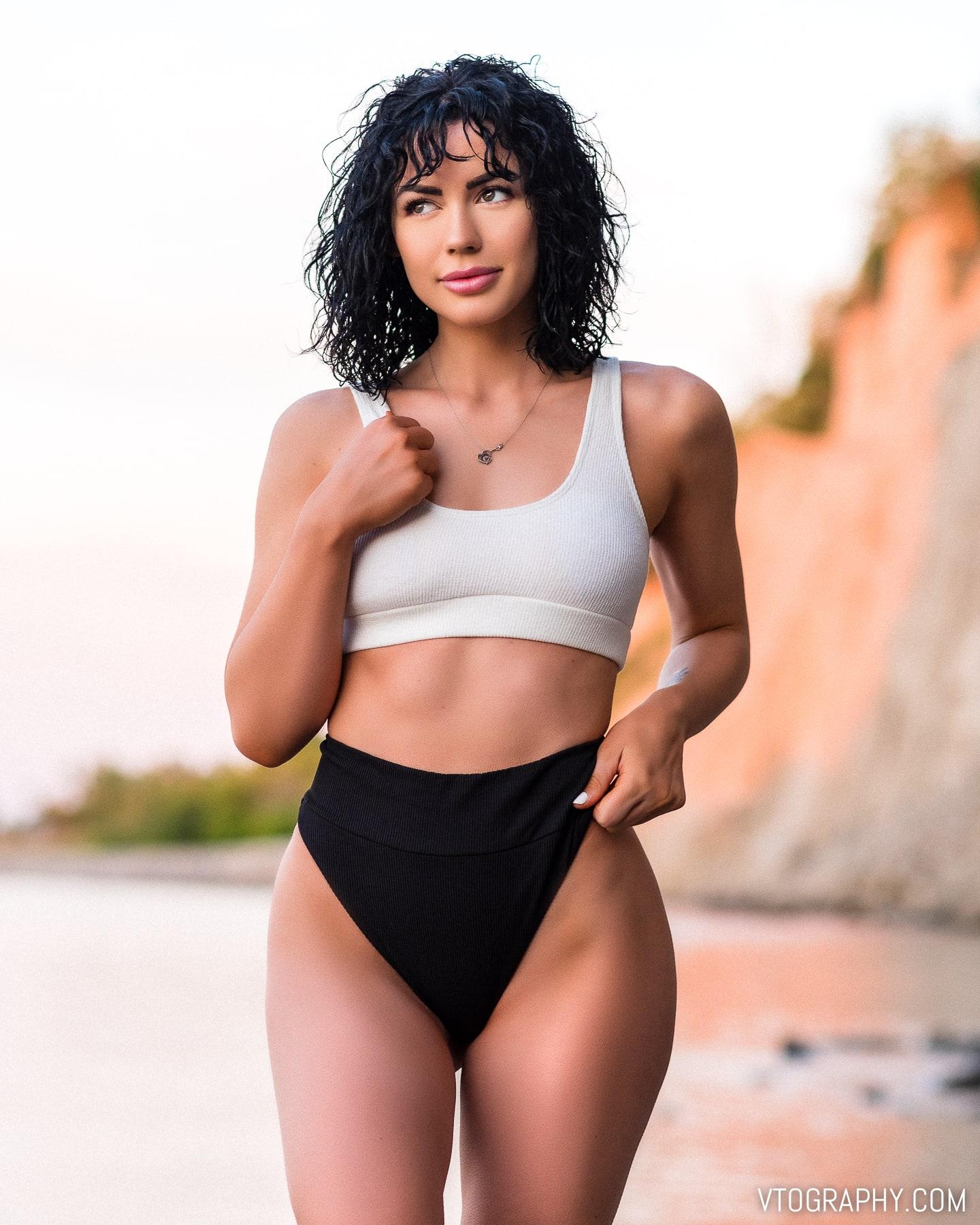 Ashley Drew wearing high cut black and white bikini