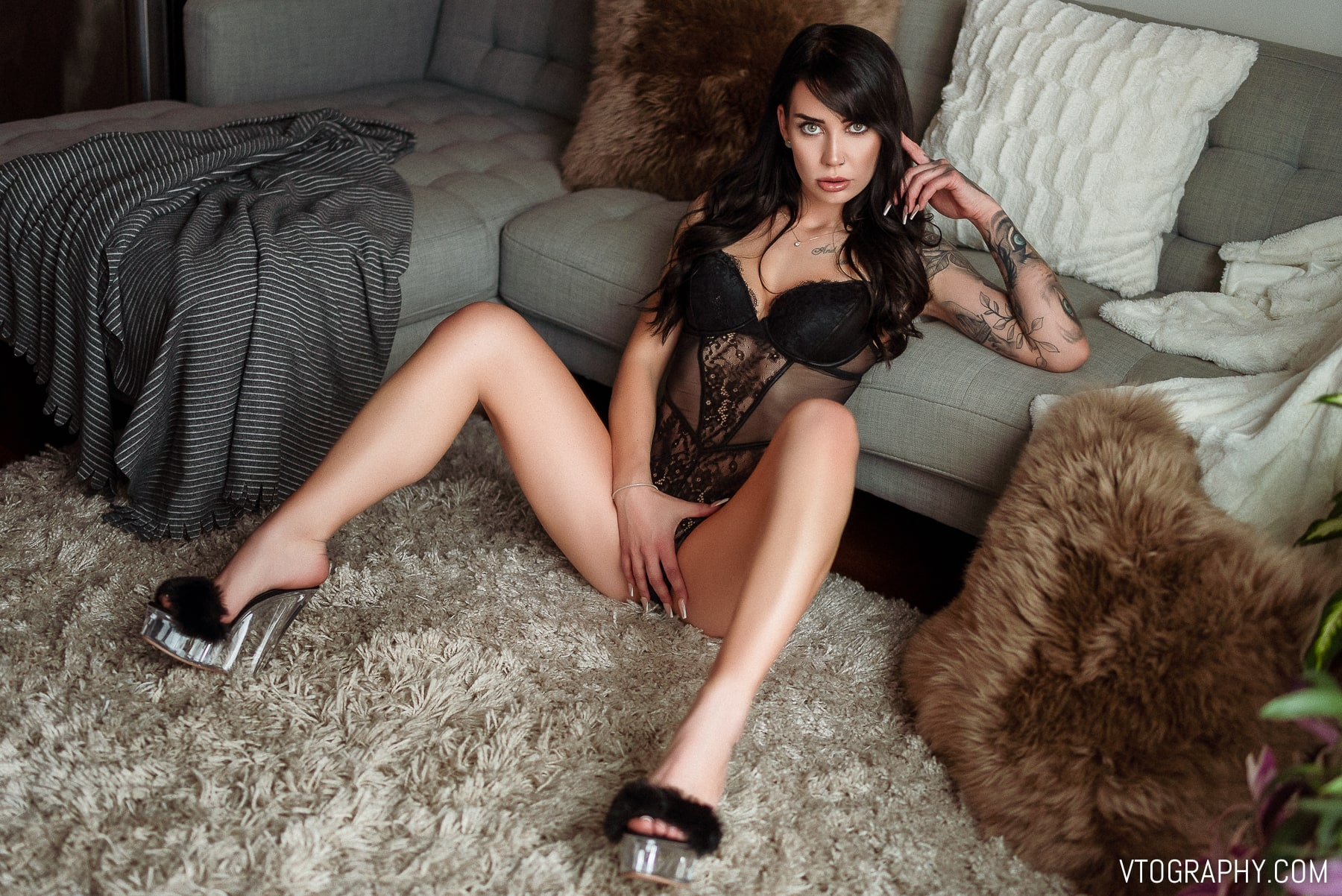 Tall, tattooed model Riley in lingerie