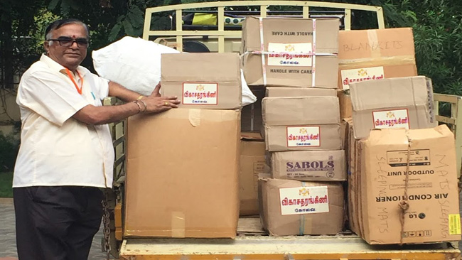 Coimbatore Vikasa Tarangini Relief Materials to Flood Affected Cuddalore District