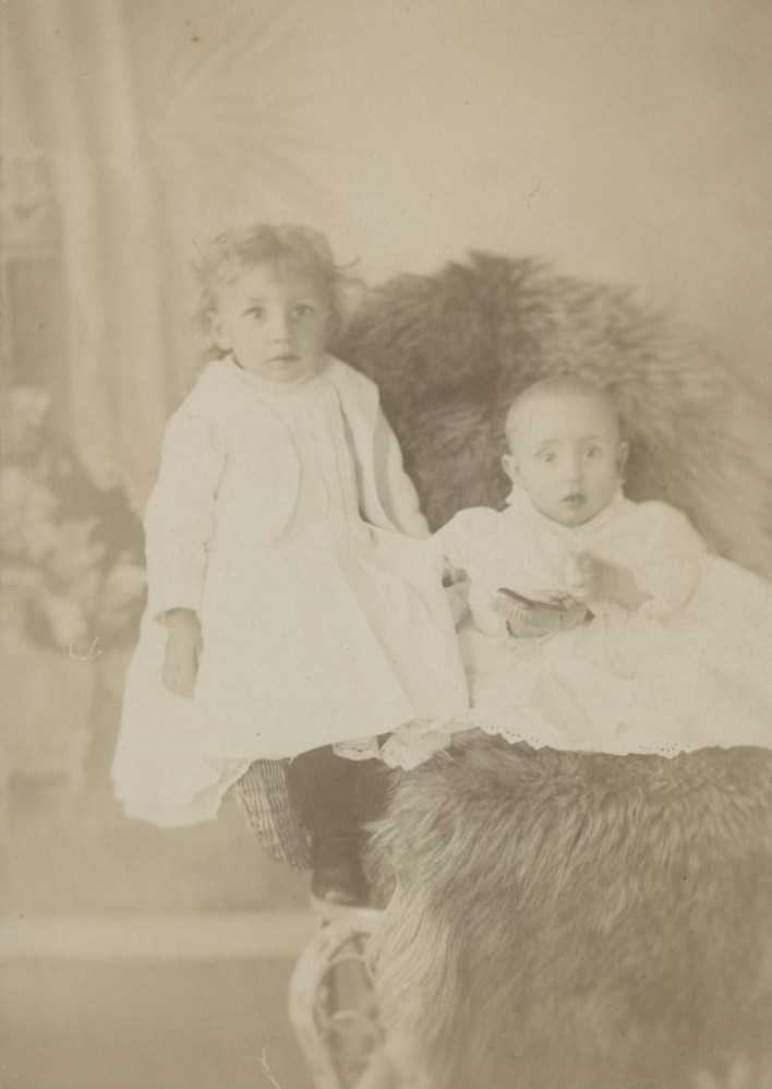 James and Theodore Price. The hairless Theodore seems bemused by the hairbrush with which he's been asked to pose. James appears frightened, as though he'd been caught smiling and threatened with punishment if he did it again.