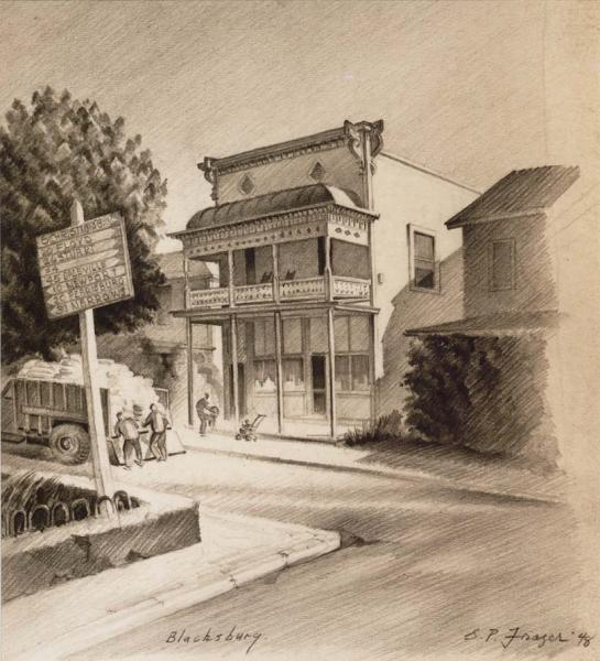 Sketch of Main Street in Blacksburg, Virginia by G. Preston Frazer