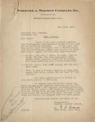 Letter from Nordyke & Marmon Company. Inc., June 19, 1917