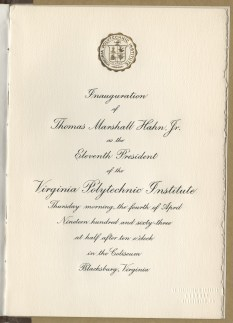 Program for Hahn's 1963 presidential installation