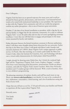 Pres. Timothy Sands' 2014 installation announcement, p. 2