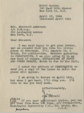 Letter, James T. Farrell to Eleanor Copenhaver Anderson, April 12, 1954