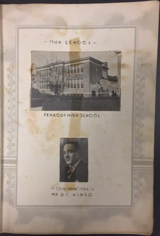 Images of the school building and the principal.