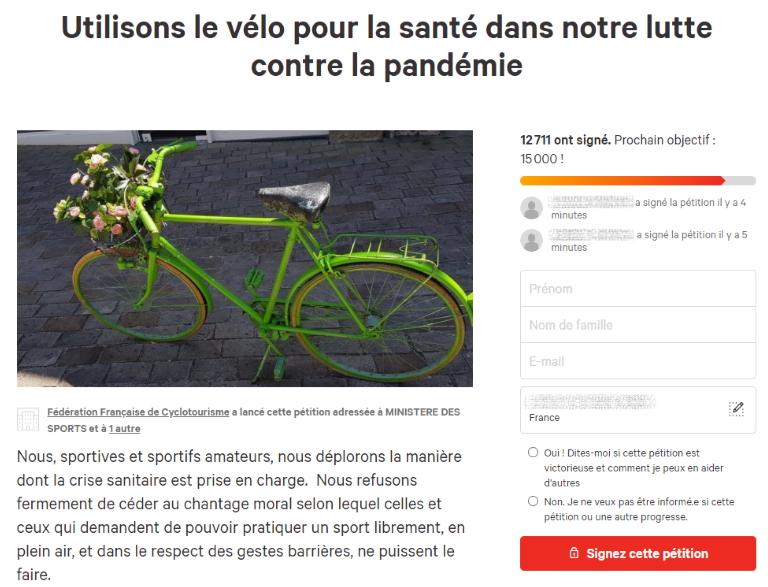 """Capture d'image de la pétition """"Utilisons le vélo pour la santé dans notre lutte contre la pandémie"""""""