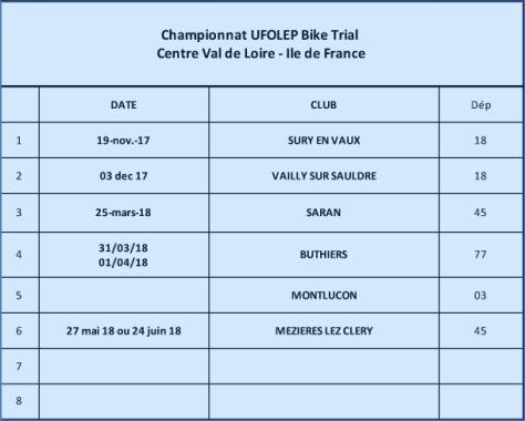 Calendrier provisoire UFOLEP 2017 / 2018 Bike Trial