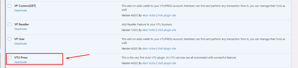 install vtupress plugin and activate