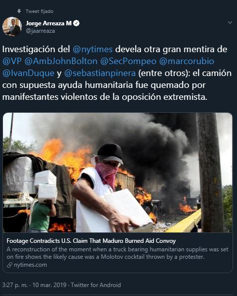 Reporte de NYT revela que oposición en Colombia mintió sobre incendio de falsa ayuda humanitaria (Foto @Jaarreaza)