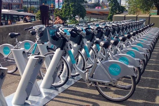 圖:期待已久的溫哥華單車共享計劃,7月20日正式上路。(@mobi_bikes #publicbikeshare)或(CoV Greenest City)