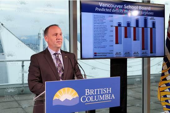 圖:卑詩省教育廳提財政新建議,6月29日遭溫哥華教育局否決。(卑詩省政府