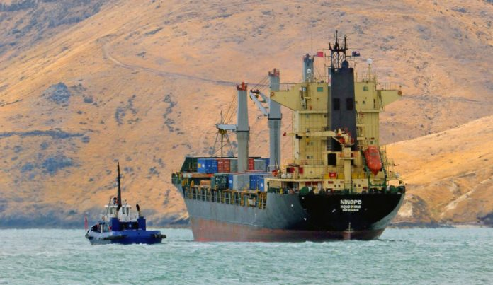 A cargo ship on its way from Hong Kong to New Zealand.