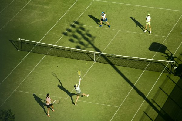tennis players from birds eye view